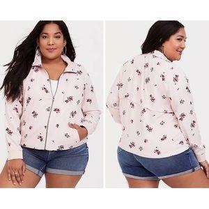 Torrid Pink Floral Stripe Twill Track Jacket Sz 2X